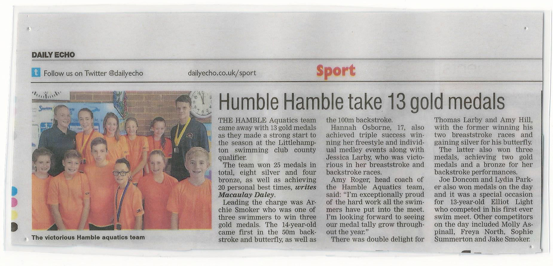 Hamble Aquatics - Daily Echo News Paper